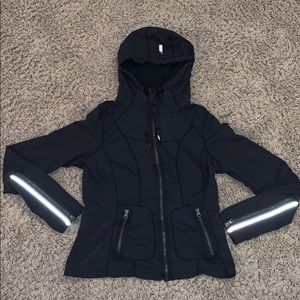 Zella black Ruched hooded reflective jacket EUC S